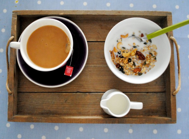enjoying a delicious cuppa and some great granola!